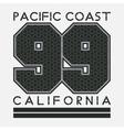 California T-shirt fashion printing sport vector image