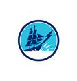 Tall Sailing Ship Lightning Bolt Circle vector image
