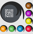 Barcode Icon sign Symbols on eight colored buttons vector image