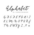 hand drawn alphabet signature script brush vector image