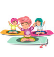 people doing yoga and meditation poster vector image