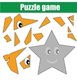 Puzzle game with star shape Printable kids vector image