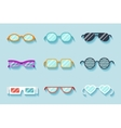 Set of flat glasses vector image