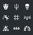 set of hell icons vector image