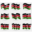 Set of Kenya flags in the air vector image