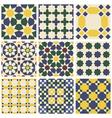 Set of nine oriental Mauritanian seamless patterns vector image