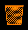 trash sign orange icon on black vector image