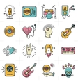 Line art music icons set Rock punk jazz symbols vector image