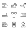 Computer protection icons set outline style vector image