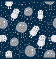 seamless pattern with monsters on dark vector image