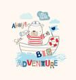 sailor bear cartoon vector image