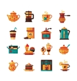 Coffe and Tea Set Icons Flat vector image