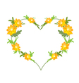 Yellow Cosmos Flowers in A Heart Shape vector image