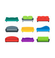 cartoon sofa or couch color icons set vector image