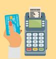 credit card and pos terminal flat vector image