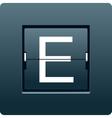 Letter E from mechanical scoreboard vector image