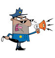 Male Police Officer Shouting Through A Megaphone vector image