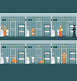 rows of prison cells with life in jail vector image
