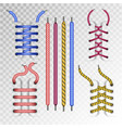 shoe laces and boot lacing type icons on vector image