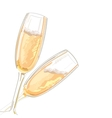 Two glasses with champagne on a white background vector image