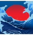 Blue Waves And Red Sun In The Japanese Style vector image
