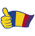 flag of romania and hand showing thumbs up vector image vector image