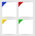 Color clip corner on white paper vector image vector image