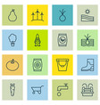 set of 16 gardening icons includes rubber boot vector image