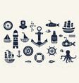 collection of vintage marine elements vector image
