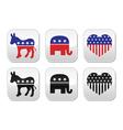 USA political parties button democrats vector image