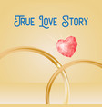 wedding background with gold rings heart shaped vector image