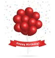 Realistic red balloons Birthday background vector image
