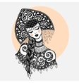 Russian traditional beauty girl vector image vector image