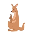 Kangaroo cartoon australia animal with baby flat vector image