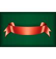 Red ribbon satin green vector image
