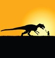child playing with dinosaur in nature silhouette vector image