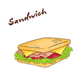 an isolated cartoon hand drawn fast food Sandwich vector image