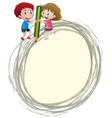 border template with kids and pencil vector image