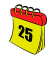calendar 25 number icon cartoon vector image
