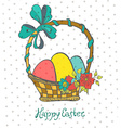 Easter card with eggs in basket and flowers vector image