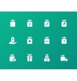 Gift icon set on green background vector image