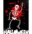Halloween dancing skeleton background vector image