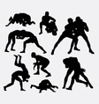 Wrestling sport silhouettes vector image