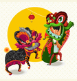 Chinese Lunar New Year Lion Dance Fight vector image