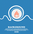 Fire flame sign icon Blue and white abstract vector image