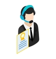 Call center operator with headset icon vector image