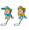 Cartoon Hockey Players Set vector image