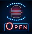 glowing neon open signs vector image