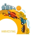Harvesting background Combine harvester tractor vector image