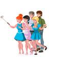 people group taking selfie photo friends vector image